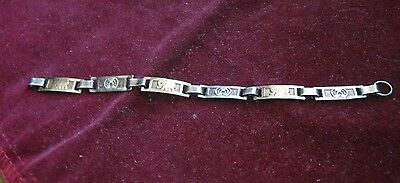 "Vintage Silver Link 5"" Bracelet w/ ELEPHANTS & HORSE SHOES, Lucky Trunks Up LQQK"