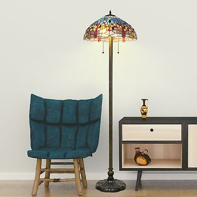 Tiffany Style Floor Lamp Antique Glass Light Vintage Blue Dragonfly Stained Red
