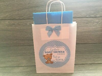 1 x Personalised Handmade Baby Shower Paper Favour Gift Loot Party Bag Blue Boys