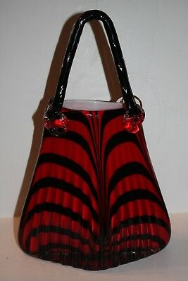 Large Murano Style Blown Art Glass Purse Red and Black