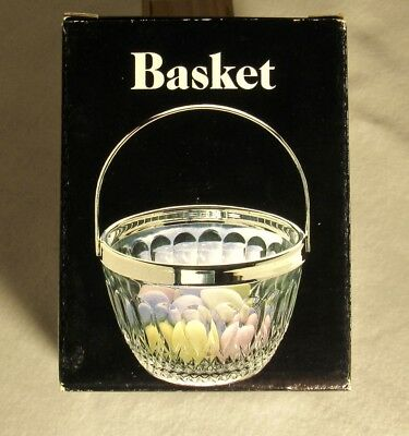 Vintage Silver Plated & Crystal Basket Made in England by Leonard Silver Mfg.