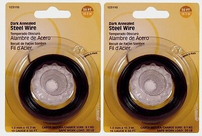 2~ Hillman Dark Annealed Steel Wire 50ft 19 Gauge Galvanized 20lb Capcity 123110