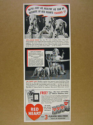1942 CUTE Dalmatian Puppies photo Red Heart Dog Food vintage print Ad