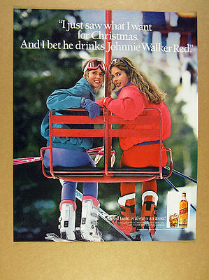 1991 pretty women skiers on chairlift photo Johnnie Walker Red Scotch print Ad