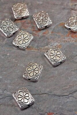 Lot of 5 Pcs Tibetan Style 12mm Rectangle Antique Silver Engraved Flower Beads