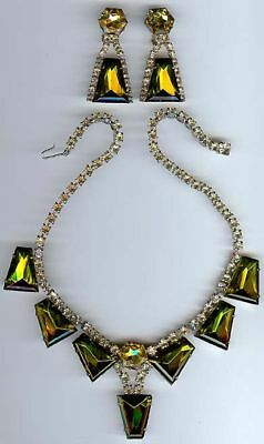 Gorgeous Vintage Rhinestone Green Yellow Glass Dangles Necklace & Earrings Set