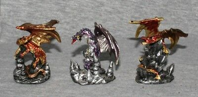 Miniature Dragons Statue Fantasy Mythical Gothic Magic Figure Ornament Set 3 -A