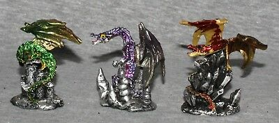 Miniature Dragons Statue Fantasy Mythical Gothic Magic Figure Ornament Set 3 -D