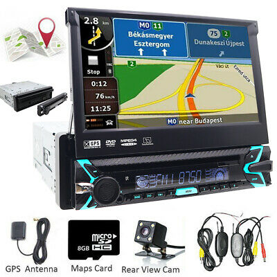 "Autoradio HD 7"" 1Din Car DVD Stereo Monitor GPS Navigation Bluetooth AV-IN+Cam"