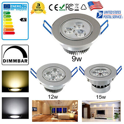 Dimmable 9W 12W 15W LED Recessed Ceiling Down Light Bulbs Fixture Lamp + Driver