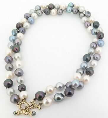 .A7.5-8.5mm Cultured Pearl Necklace 14K Toggle Clasp VAL $2050