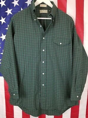 Vintage LL Bean Made In USA Green Long Sleeve Button Front Shirt Mens Size 16-32