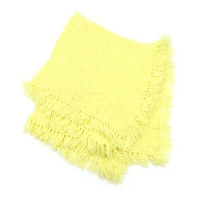 Vintage Yellow Handmade Knitted Crochet Baby Blanket! Great Gift!