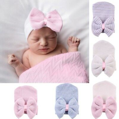 New Newborn Baby Infant Girl Toddler Comfy Bowknot Hospital Cap Beanie Hat Cute