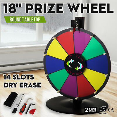 """18"""" Round Tabletop Color Prize Wheel Spinnig Game Fortune Parties 14 Slots"""