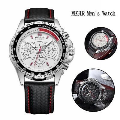 MEGIR Waterproof Men's Stainless Steel Analog Sports Quartz Military Wrist Watch