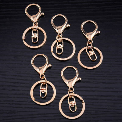 5x Rose Gold Lobster Clasp Trigger Clip Split Ring Swivel Key Chain Accessory