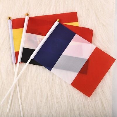 Small National Flag 21*14cm Hand Waving Flags With Plastic Flagpoles 10pcs/pack