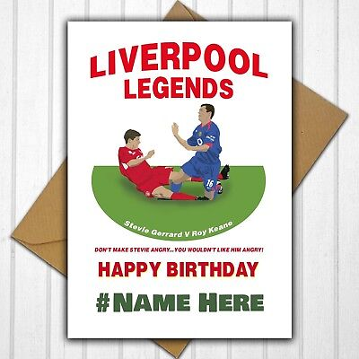 Liverpool Fc Steven Gerrard Personalised Birthday Card Any Nameage