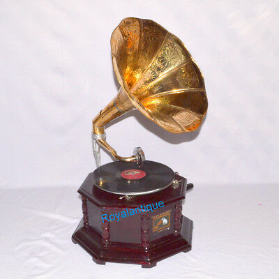 Fully Working Octagonal Gramophone Phonograph With Brass Crafted Big Horn