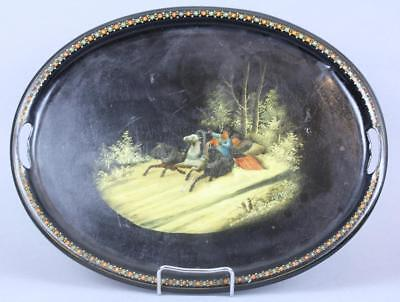 Antique Imperial Russian Metal Tray with Romantic scene by Vishniakov c1880-1890