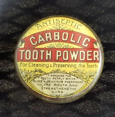 Old Empty Advertising Dental Tin Antiseptic Carbolic Tooth Powder Clean Preserve