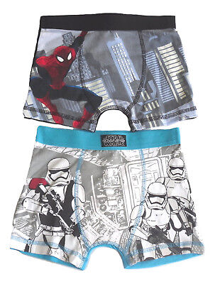 Boys Boxer Shorts Spiderman Or Star Wars
