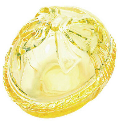 """Waterford Marquis Heritage Crystal Yellow Egg Box 2-PC Bow Top Lid 5.5"""" New"""