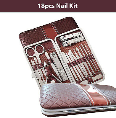 18Pcs Nail Kit Cuticle Manicure Pedicure Set Stainless Clippers Grooming Beauty
