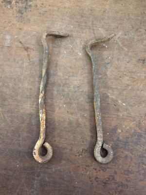 2 Gate Barn Door Latch Hooks Antique Vintage Twisted Hand Made Wrought Iron