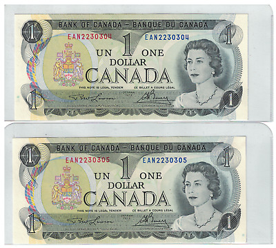 1973 Bank of  Canada 2 Consecutive $1 Dollar Notes UNC EAN Lawson/Bouey