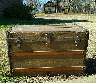 Old Vintage Antique Steamer Trunk Chest M. Cherry w/wheels local delivery
