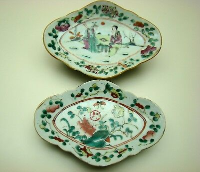 TWO ANTIQUE CHINESE 19th C FAMILLE ROSE PORCELAIN FOOTED PLATES