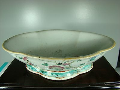 HUGE ANTIQUE CHINESE 19th C FAMILLE ROSE PORCELAIN BOWL WITH MARK 長河
