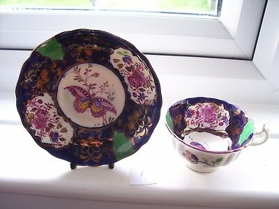 Stunning Gaudy Welsh  Rose & Butterfly Pattern Cup And Saucer