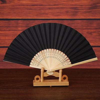 Pure Folding Dance Wedding Party Lace Silk Folding Hand Held Solid Color Fan