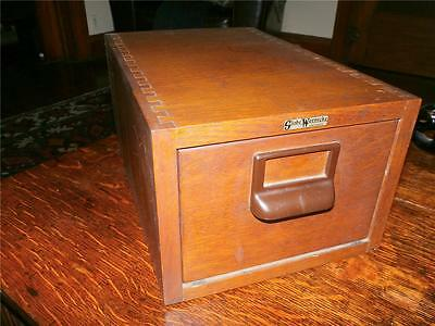 Vintage Globe Wernicke Oak File Card Cabinet..single Large Cards