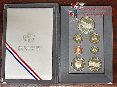 1991 Prestige Proof Set Mount Rushmore 90% Silver with Box & COA