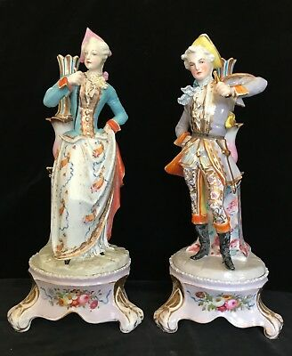 Pair Antique LIMOGES FIGURINES ON PLINTHS, Signed Vogt, H:16.5 In., circa 1865 ⚜