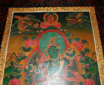 Altes Masterpiece THANGKA aus Nepal: Grüne TARA in Brokat! 101x57cm