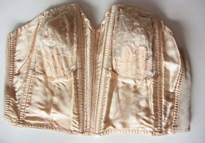 Vintage 1920's strapless bra in palest peach silk satin with lace cups 38 B