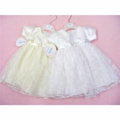 Baby girls white floral christening dress gown  6-9-12 months