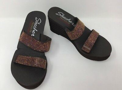 60f5b969863d Women s Skechers 38698 Bohemian Arrow - Lil Boom Wedge Sandals Brown J44