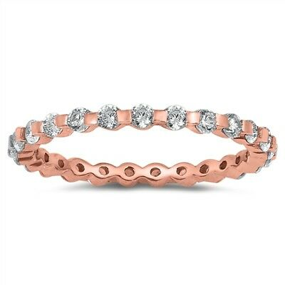 Rose Gold Tone Eternity Stackable White CZ Ring Sterling Silver Band Sizes 4-10