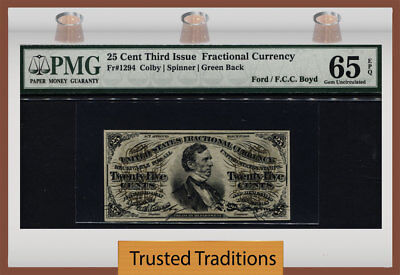 Tt Fr 1294 25 Cents 3Rd Issue Fractional Green Back Pmg 65 Epq Gem Uncirculated