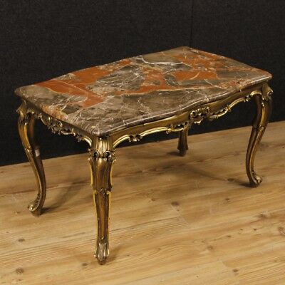 Coffee table Italian furniture living room golden lacquered wood antique style