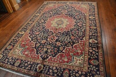 Vintage Persian Classic Floral Design Rug, 7'x10', Blue/Blue, All wool pile