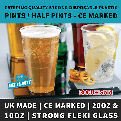 Clear Strong Plastic Half Pint / Pint To Brim Disposable Cups- UK MADE CE MARKED