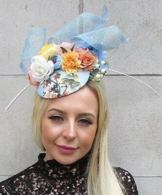 Cornflower Light Blue White Orange Floral Flower Feather Hat Fascinator 5763