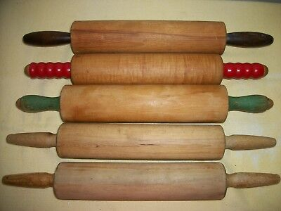 VINTAGE WOOD ROLLING PINS - Plain HANDLES & RED & GREEN  Munising,Foley, lot 5